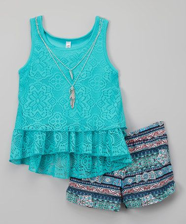 Love this Aqua Green Tank & Shorts Set - Girls on #zulily! #zulilyfinds