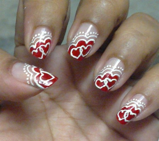 valentine themed nails
