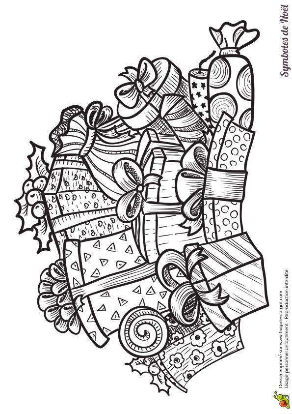 Coloriage des symboles de Noël, un énorme tas de cadeaux pour le matin de Noël - Hugolescargot.com