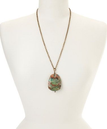 Look at this #zulilyfind! Turquoise Sediment Jasper Pendant Necklace #zulilyfinds