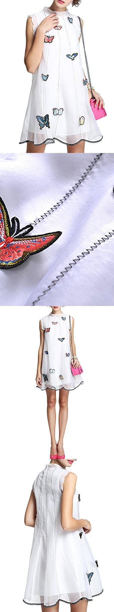 MissLook Women's Sleeveless Butterfly Appliqued Scalloped Shift Dress With Camis - White 10