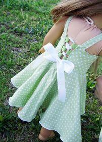 Twirly Lace Doll Dress Pattern Free American Girl Doll dress  pattern  Cross front, lace up back