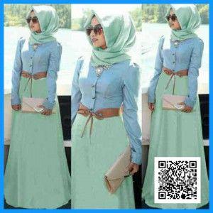 Gamis Hijab Bella Denim | Baju Muslim Terbaru