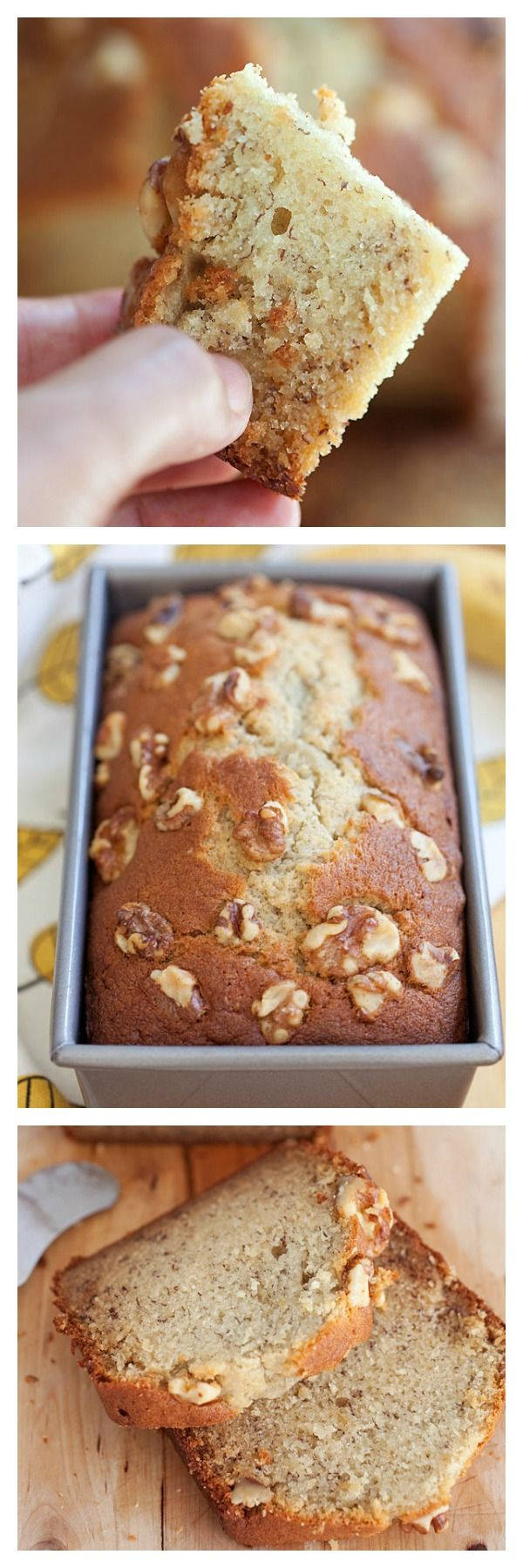 Banana bread or banana cake is everyone's favorite. Topped with walnuts, this banana bread (banana cake) recipe yields the most delicious banana bread ever | rasamalaysia.com