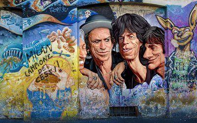 Scarica sfondi mick jagger, rolling stones, graffiti