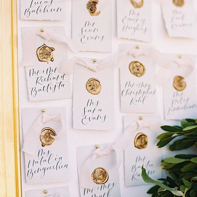 Signed, sealed, delivered. ✉️ Direct your guests to their seats with elegant gold-sealed escort cards. #theknot 📷: @abbyjiu | Venue: @keswick_hall | Design: @laurynprattes  #Regram via @theknot