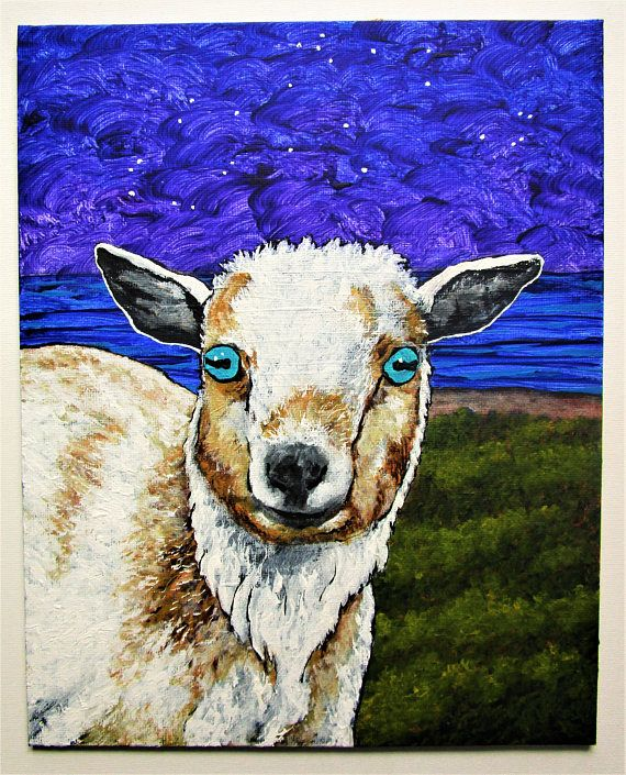 Aqui the Goat https://www.etsy.com/listing/186507940/custom-commission-original-art-by-mike  Having a special friend is a part of growing up.  And, for this 13 year old Pennsylvania farmer, that was Aqui.  Aqui was nicknamed after the Greek Aquarius because of his very blue eyes.  While Aqui has joined the gods for the rest of his journey, this painting will help a wonderful young woman remember him here on earth.  My work on view at:  @Bausch Rochester Optics Center…