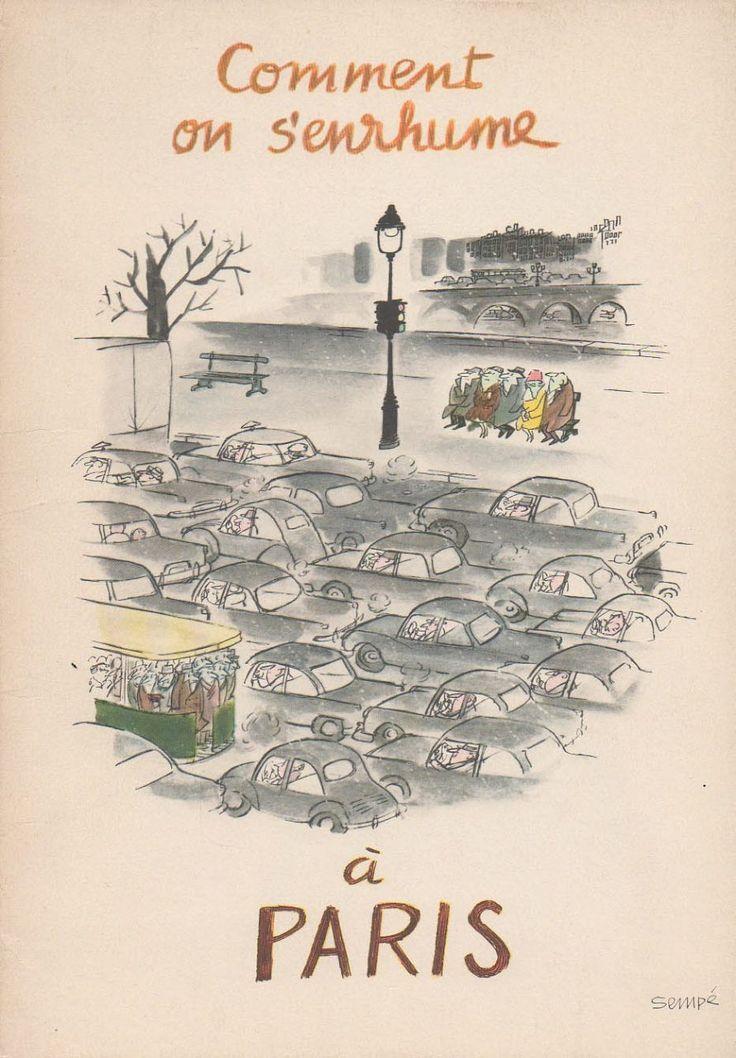 """¤""""Comment on s'enrhume à Paris"""", 1961, Jean-Jacques Sempé"""