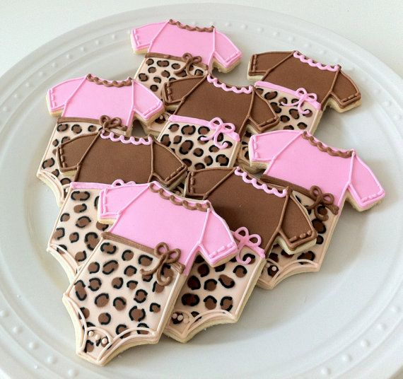 Decorated Leopard Print Baby Onesie Cookies by peapodscookies