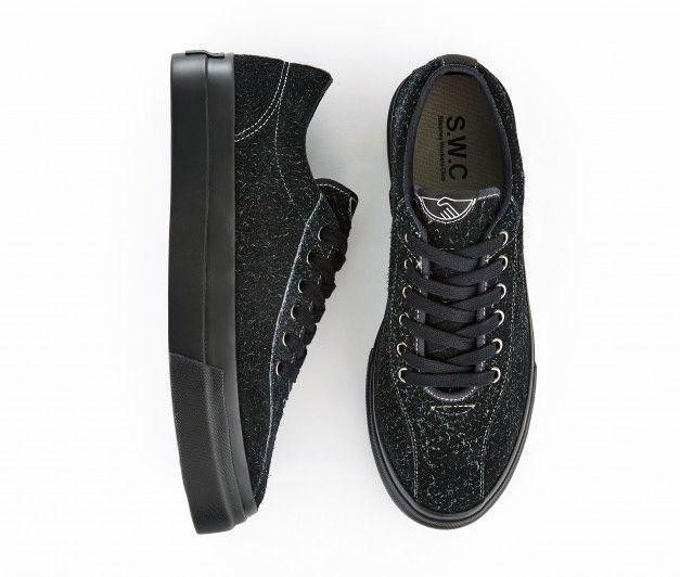 S W C Dellow Sneakers Men S Black Hairy Suede Trainers Stepney Workers Club S W C Sneakers Men Sneakers Black Suede Trainers