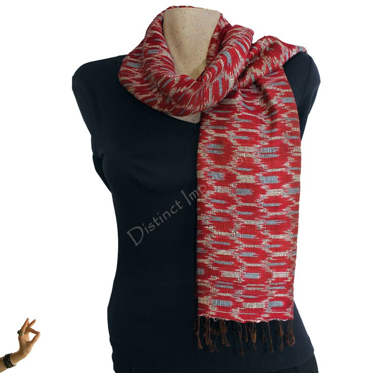 Red with Blue Mudmee Silk Scarf Shawl