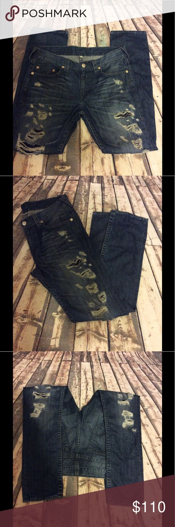 "True Religion distressed jeans size 34(men) True Religion distressed jeans size 34(men)  with pockets & belt loops approx 18"" waist approx 32"" inseam approx 41"" length approx 7"" pants cuff approx 10.5"" EXCELLENT CONDITION True Religion Jeans Skinny"