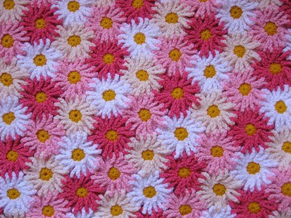Crochet Pattern EVERLASTING DAISIES Blanket/Afghan/Throw by kuuyu