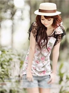 Casual Bow Knot Lace Petty Flowers T-shirt T-shirts- ericdress.com 10681452