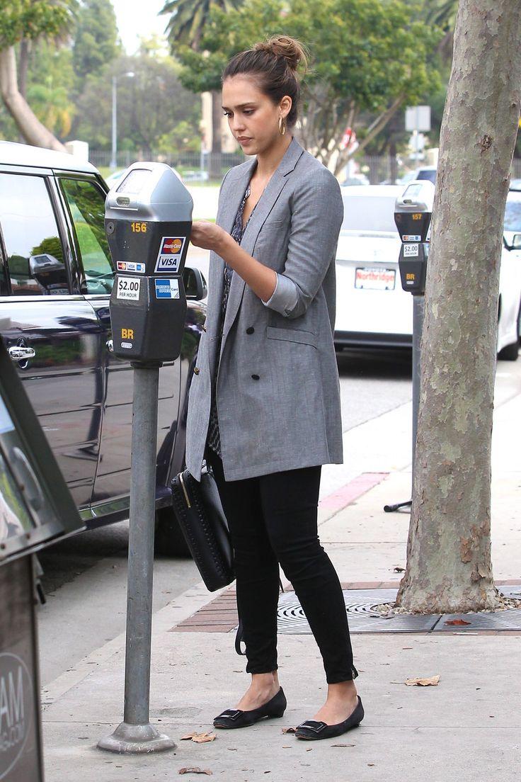 Jessica alba grey blazer black jeans black flats outfits pinterest jessica alba grey Jessica alba fashion and style
