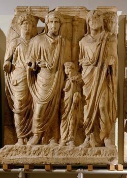 Relief: adoption of the Emperor Lucius Verus and Marcus Aurelius  Roman, Middle Empire  Center in 2nd Century AD  marble   Ex. of imperial toga