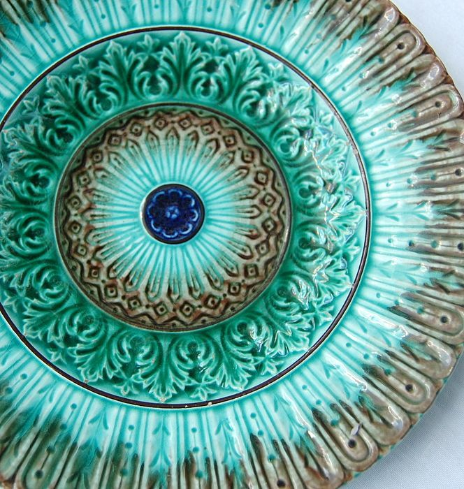 """Victorian Majolica Plate ~ Pretty 7 3/4"""" Victorian Majolica plate with impressed marks on the back of U & C S inside of a circle, and the number 188."""