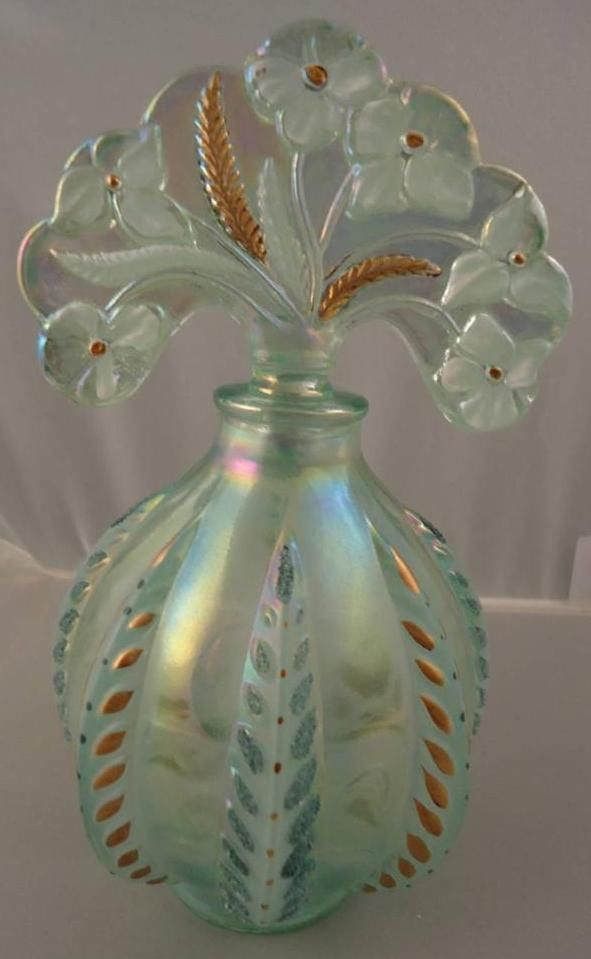Vintage Fenton Handpainted Willow Green Feather Perfume Bottle Owens Flowers