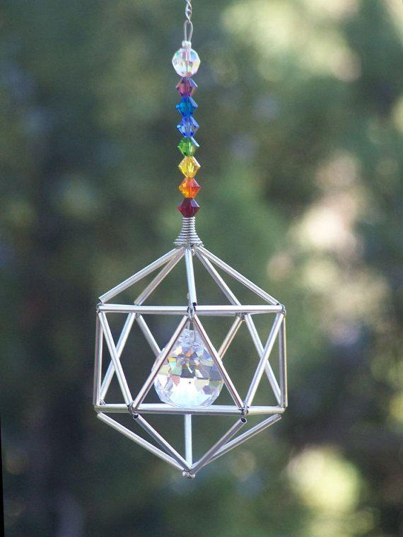 NEW 7 Chakras Icosahedron Suncatcher / Pendulum SWAROVSKI