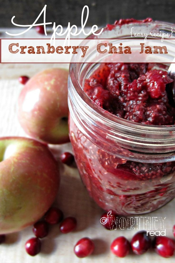 5 Ingredient Recipe for easy Apple Cranberry Chia Jam!  This will be perfect with some homemade biscuits. And perfect for an upcoming Holiday dinner party!  Pin it- and come check it out!!  jam recipes, easy jam recipes, cranberry recipes