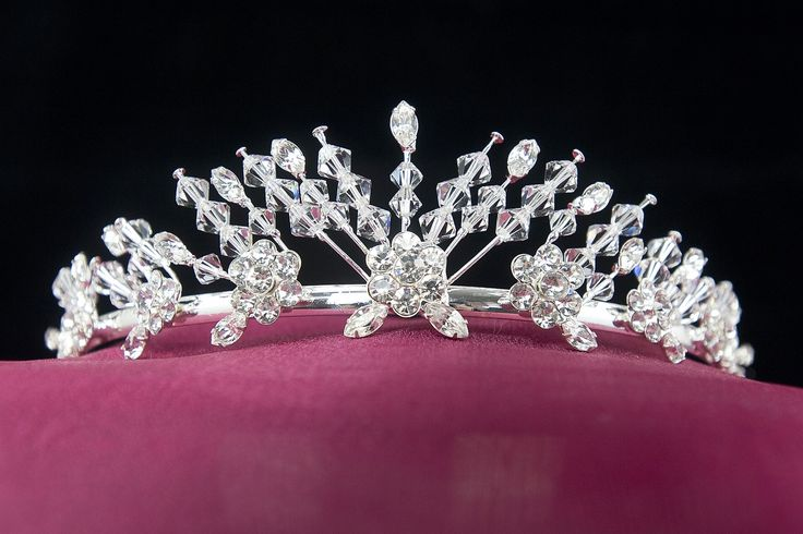 Wedding Bridal Tiara Crown Silver Rhinestone Floral Design With Crystals $57.35 …