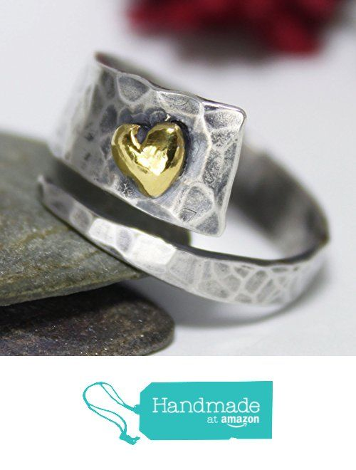 Golden Heart Ring, Adjustable Ring, Unique Sterling Silver 24K Keum-boo Ring, Band Ring, Hammered Ring, Rustic Silver Ring from rosajuri https://www.amazon.com/dp/B01N108JEQ/ref=hnd_sw_r_pi_dp_mSh1ybE7MEA5F #handmadeatamazon