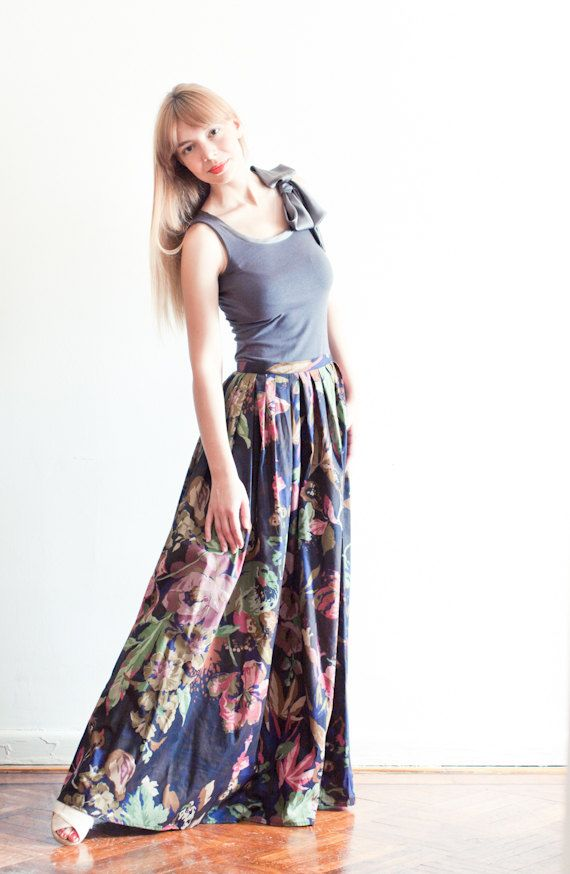 Floral Print Pleated Cotton Maxi Skirt by LanaStepulApparel