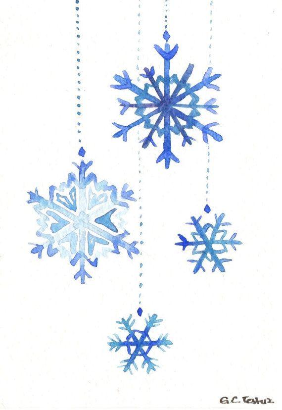 Original watercolor Christmas Card Snowflakes by MilkFoam on Etsy