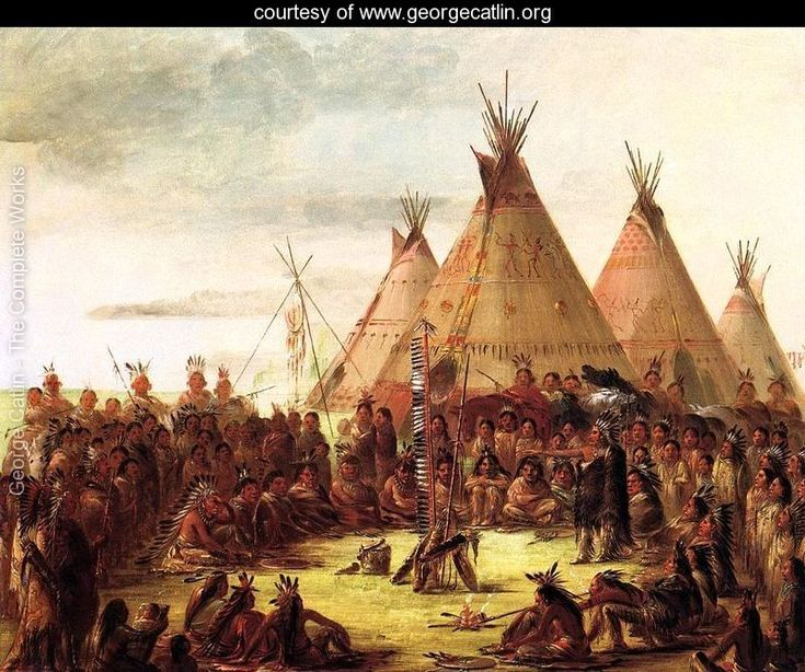 Sioux War Council - by Artist George Catlin - www.georgecatlin.org | Art of the American Cowboy ...
