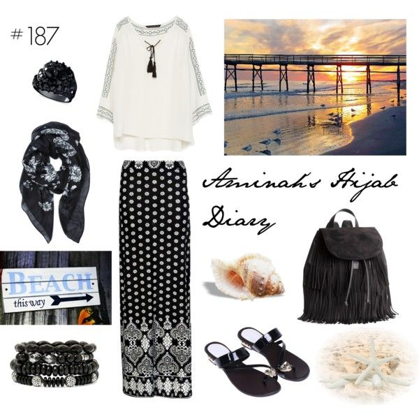 #187 Beach Day (affordable) by aminahs-hijab-diary on Polyvore featuring Zara, Boohoo, H