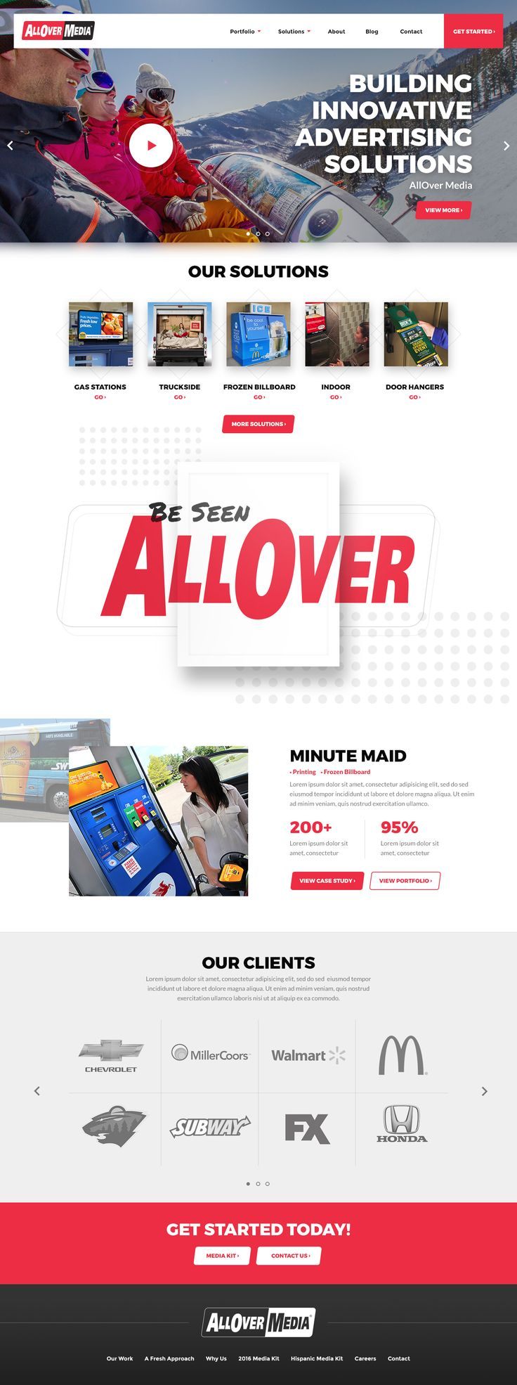 Advertising media website design for AllOver Media by: Mike Delsing