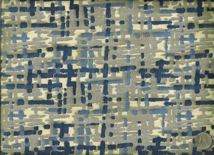 Robert Allen Contract Abstract Cobalt Contemporary Modern Upholstery Fabric #RobertAllenContract
