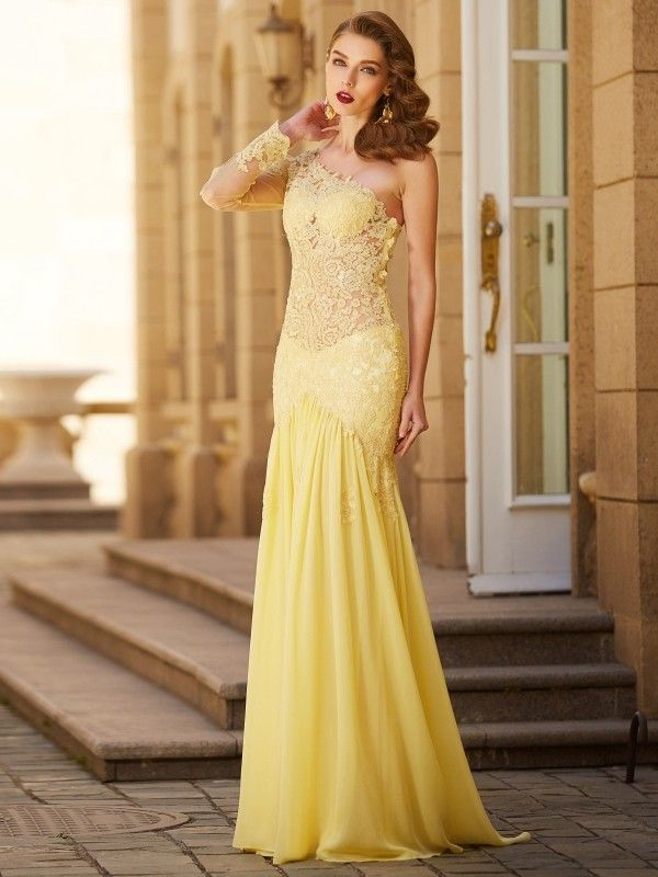 2034ce90c Long Sheath One-Shoulder Chiffon Yellow Prom Dresses 2018 is very popular  among our customers across the globe. Currently