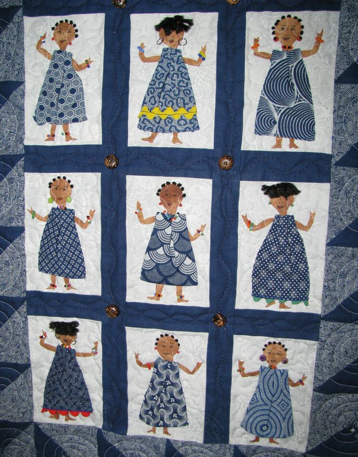 Blue Shweshwe fabric from South Africa. Dancing ladies. You could piece and/or applique this.