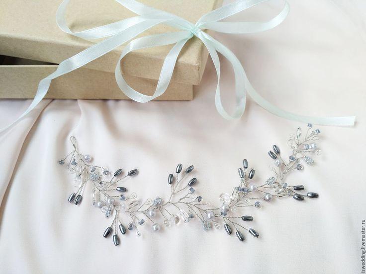 Купить Любой расцветки! Свадебное украшение для волос - серый, серая дымка, украгение из бусин