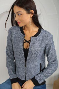 Size Özel Saygı Kadın Lacivert  Kaşe Görünümlü Fermuarlı Sweatshirt #modasto #giyim #moda https://modasto.com/size-ozel-saygi/kadin/br43685ct2