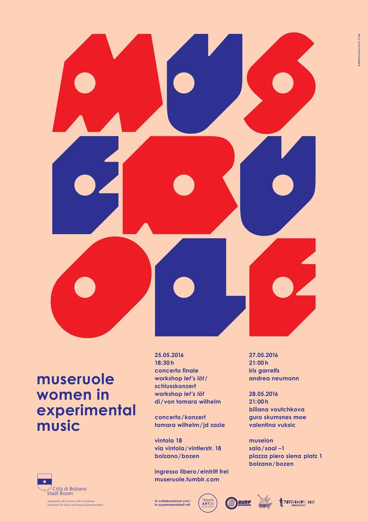 Poster Graphics for Museruole – women in experimental music (2016) by Ambrosi Graphics www.ambrosigraphics.com
