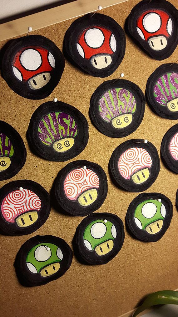 Hand painted mushroom patches by @fauvebcreations , available for purchase on Fauve B Creations ' Etsy shop :)