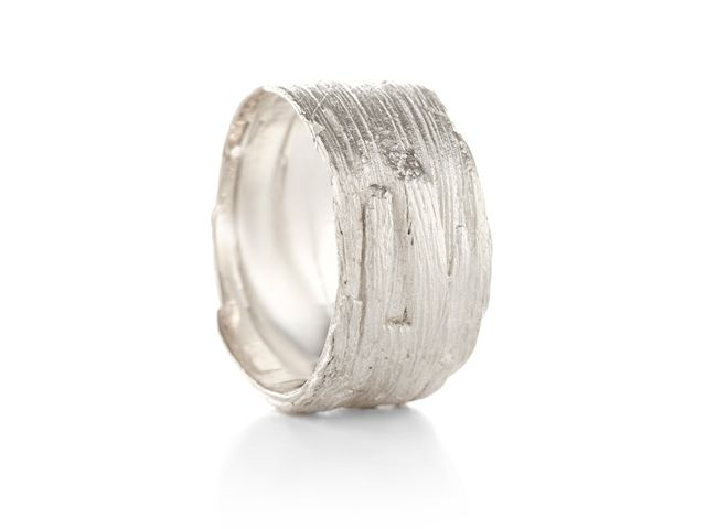 Wide ring with wood structure Buy online
