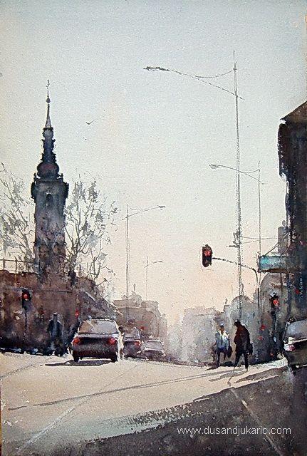 Watercolor, Rainy morning in Belgrade, 38x56cm-Dusan Djukaric