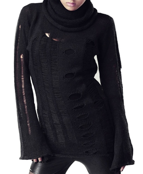 Black roll neck collar knit jumper with ladder and cut out detail