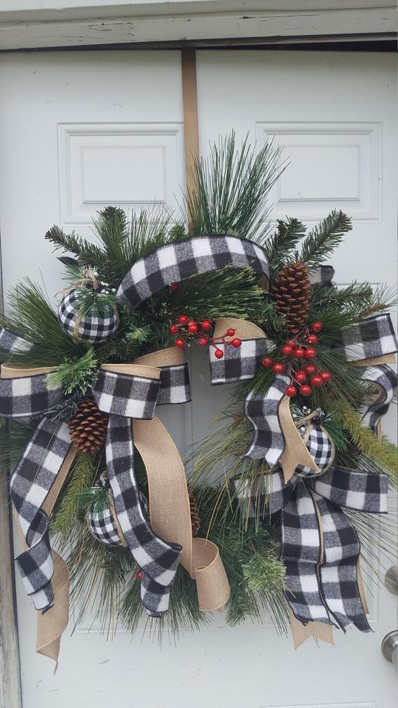 Buffalo Check Christmas Wreath Farmhouse Christmas Wreath Rustic Christmas Wreath Black With Images Rustic Christmas Wreath Christmas Wreaths Buffalo Check Christmas Decor