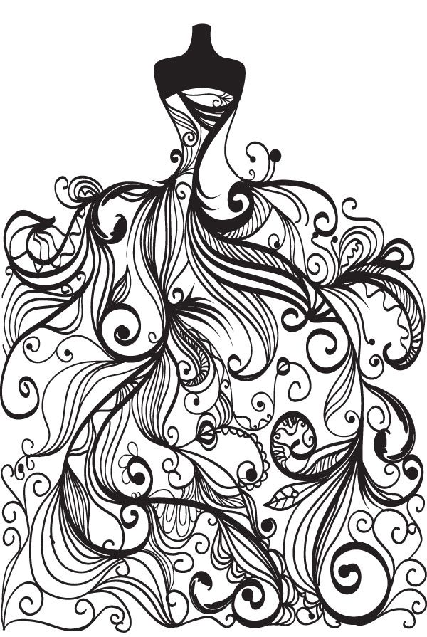 free vector Wedding clip art coloring page for grown ups: