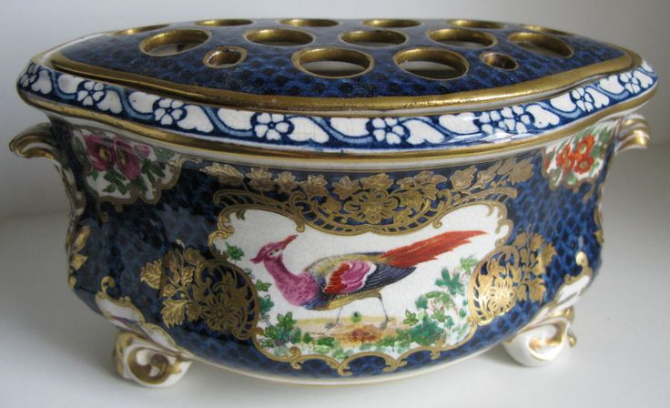 Antique Booths Scale Blue Silicon China Exotic Birds Bough Pot