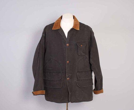 Vintage 90s Hunting JACKET / 1990s Polo RALPH LAUREN Men's Black Canvas  Field Coat xl