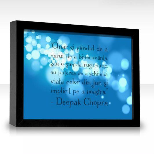 """""""Chiar şi gândul de a dărui, de a binecuvânta, sau o simplă rugăciune, au puterea de a schimba viaţa celor din jur, şi implicit pe a noastră.  Învăţând să dăruim ceea ce dorim să obţinem, noi activăm şi regizăm dansul vieţii, imprimându-i o mişcare sublimă, vie, dinamică, ce constituie însăşi esenţa vieţii.  Atunci când vă întâlniţi cu cineva, îi puteţi oferi în tăcere o binecuvântare, îi puteţi dori fericire, bucurie, un surâs. Acest tip de dăruire tăcută este foarte puternic."""" ~ Deepak…"""