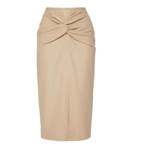 N°21 Twist Knot Leather Skirt ($1,425) ❤ liked on Polyvore featuring skirts, neutral, beige pencil skirts, knot skirt, beige leather skirt, genuine leather skirt and knee length pencil skirt