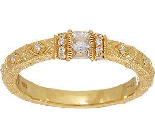 Judith Ripka 14K Clad Diamonique Estate Style Ring