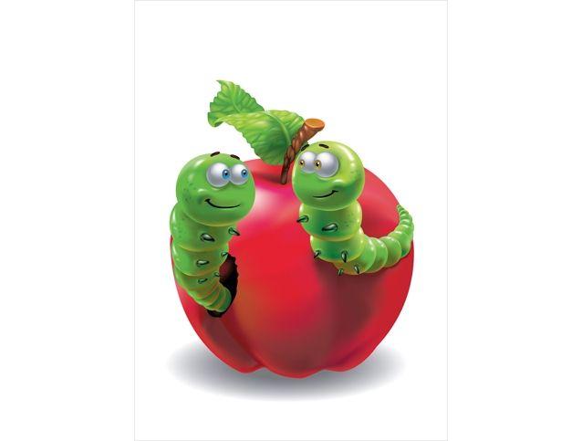 Виниловая наклейка «Яблочная встреча» - изображение красивого яблока с озорным червячком.