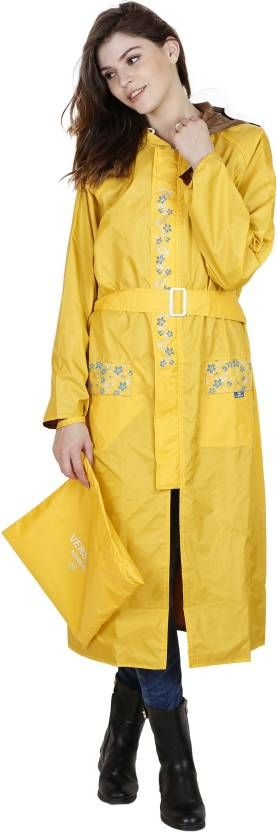 Versalis Yellow Nylon Spandex Floral Printed Raincoat #Raincoat #Yrellow